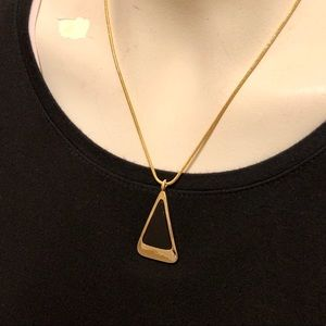Jewelry - Black / Gold tone necklace triangle shaped